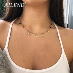 53edec4ce96c Hermosa gargantilla dorada o plateada para llevar al cuello de mujer ...Con pequeños  dijes de estrella