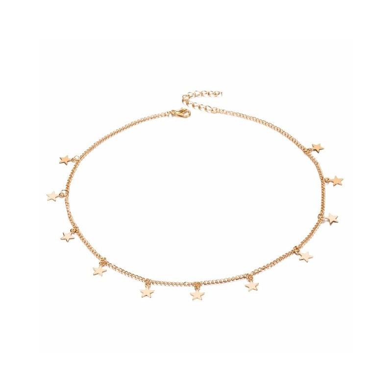fd59ca887724 Gargantilla para mujer con pequeños dijes largos Moda Femenina Collar para  mujeres Color metal De oro y de color