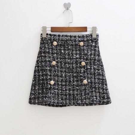 Hermosa mini falda tejida con botones estilo patchwork - Estilo patchwork ...