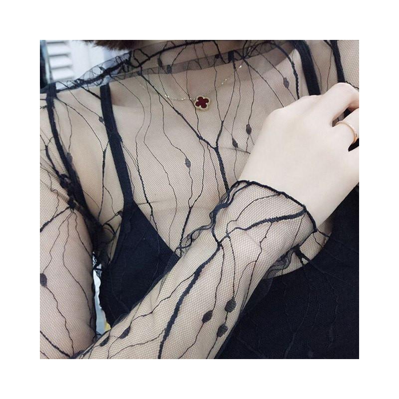 100% de alta calidad Precio pagable mejor autentico Camisa Negra de Malla para Mujer Modernas Blusas Transparentes ...