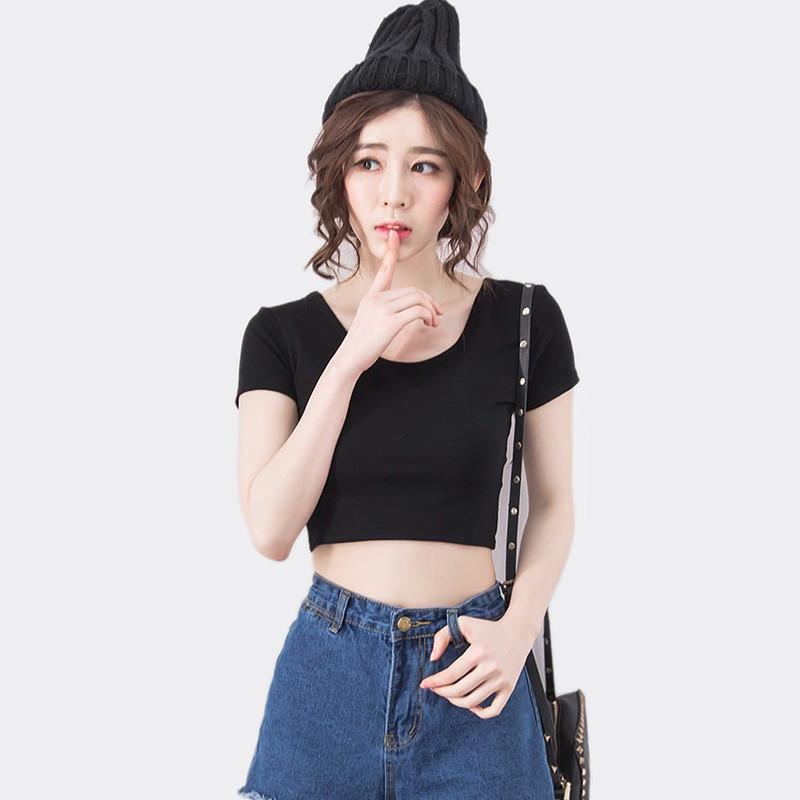 Lindo Crop Top Básico De Algodón Para Chicas Hermosa Camiseta Corta Con Cuello U